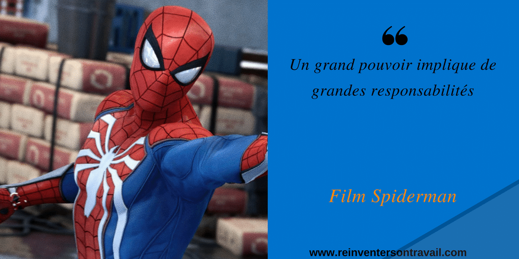 Citation Spiderman : un grand pouvoir implique de grandes responsabilités